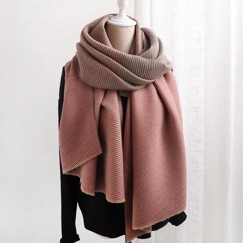 Pleated Designer Scarf For Women Winter Cashmere Scarves Luxury Brand Thick Warm Pashmina Bandana Shawls Lady Wraps Blanket
