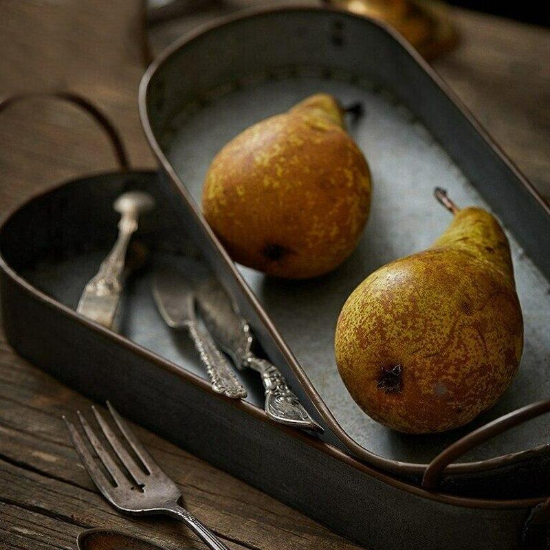 Винтаж Стиль металлический поднос корзина французский Кантри стиль посуда потертая деревенская домашний 20/30 см E2S-3