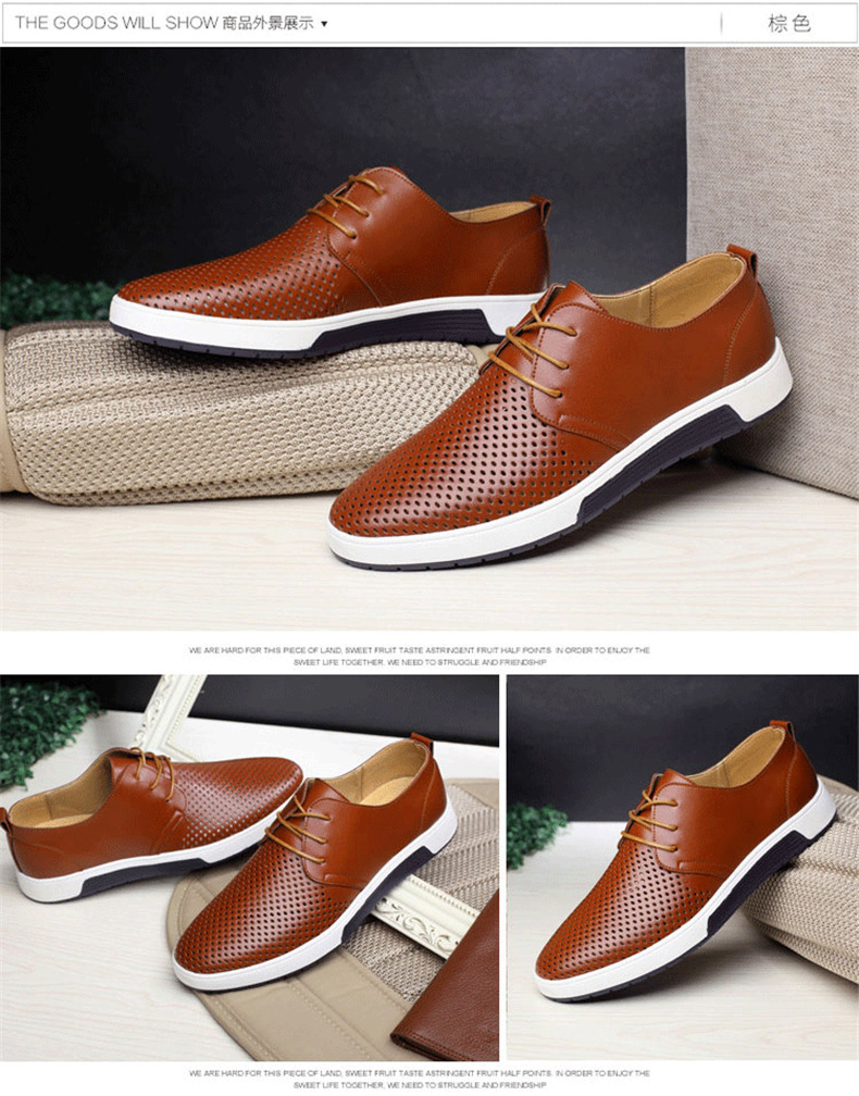 H9e7d779adf804e26a6388a1db3c02ad33 New 2019 Men Casual Shoes Leather Summer Breathable Holes Luxurious Brand Flat Shoes for Men Drop Shipping
