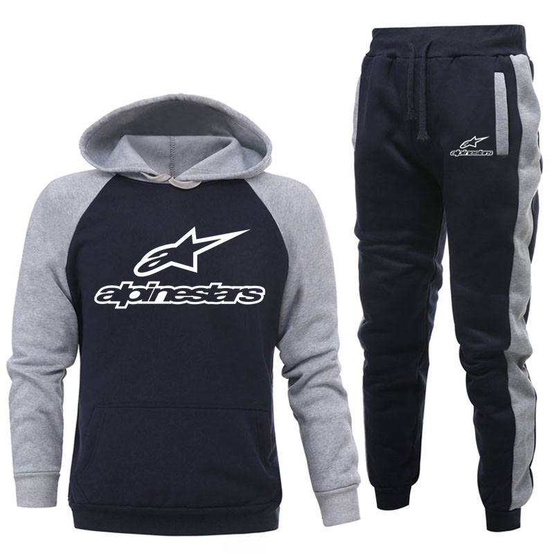 New Two Pieces Set Fashion Hooded Sweatshirts Sportswear Men Tracksuit Hoodie Autumn Brand Clothes Hoodies+Pants Men Sets