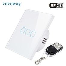 Vovoway EU Glass panel touch switch,light switch,telecontrol wireless ,3 Gang AC110V 220V
