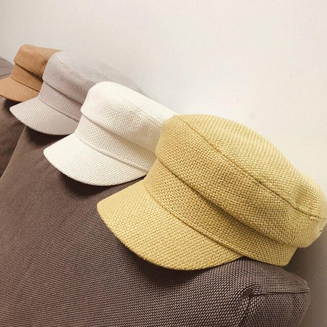 Summer 2020 Japan Net Red Same Hemp Like Breathable Fabric Flat Top Small Military Cap Couple Cap Fashion Cloth Cap Women Hats