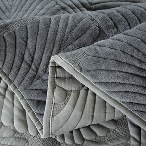 Image 4 - 豪華な綿キルトセット 3 個ヤシの葉刺繍キルトのベッドカバーベッドカバーシーツ枕カバーセットキングサイズ