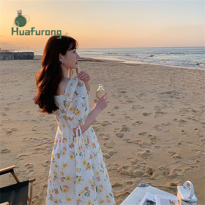 Hollow Embroidery Square-Neck Dress Floral female Summer 2021 New French High-waist Puff Sleeve Front With Buttons 5