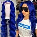 Синий парик, парик из человеческих волос, синие волнистые волосы 13 х4, парик на сетке спереди, предварительно выщипанные детскими волосами, б...