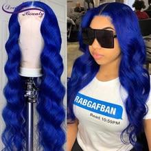 Peruca azul do cabelo humano peruca azul colorido ondulado 13x4 peruca dianteira do laço pré arrancado com cabelo do bebê glueless perucas da parte dianteira do laço
