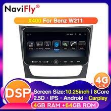 ثماني النواة 4G RAM 64G ROM 10.25 بوصة DSP راديو السيارة لمرسيدس بنز E-class W211 E200 E220 E300 E350 E240 E280 CLS الفئة W219
