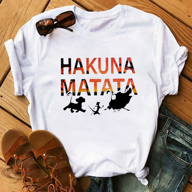 WVIOCE <font><b>Hakuna</b></font> <font><b>Matata</b></font> Shirt Women Harajuku Ullzang The <font><b>Lion</b></font> <font><b>King</b></font> T-shirt Femme Homme Summer Tshirt Fashion Top Tee Female T Shirt image