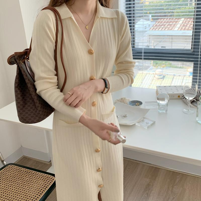 H9e7e14823ed94252a5adc97e6fe5e171w - Autumn Turn-Down Collar Soft Slim Solid Long Sweater Dress