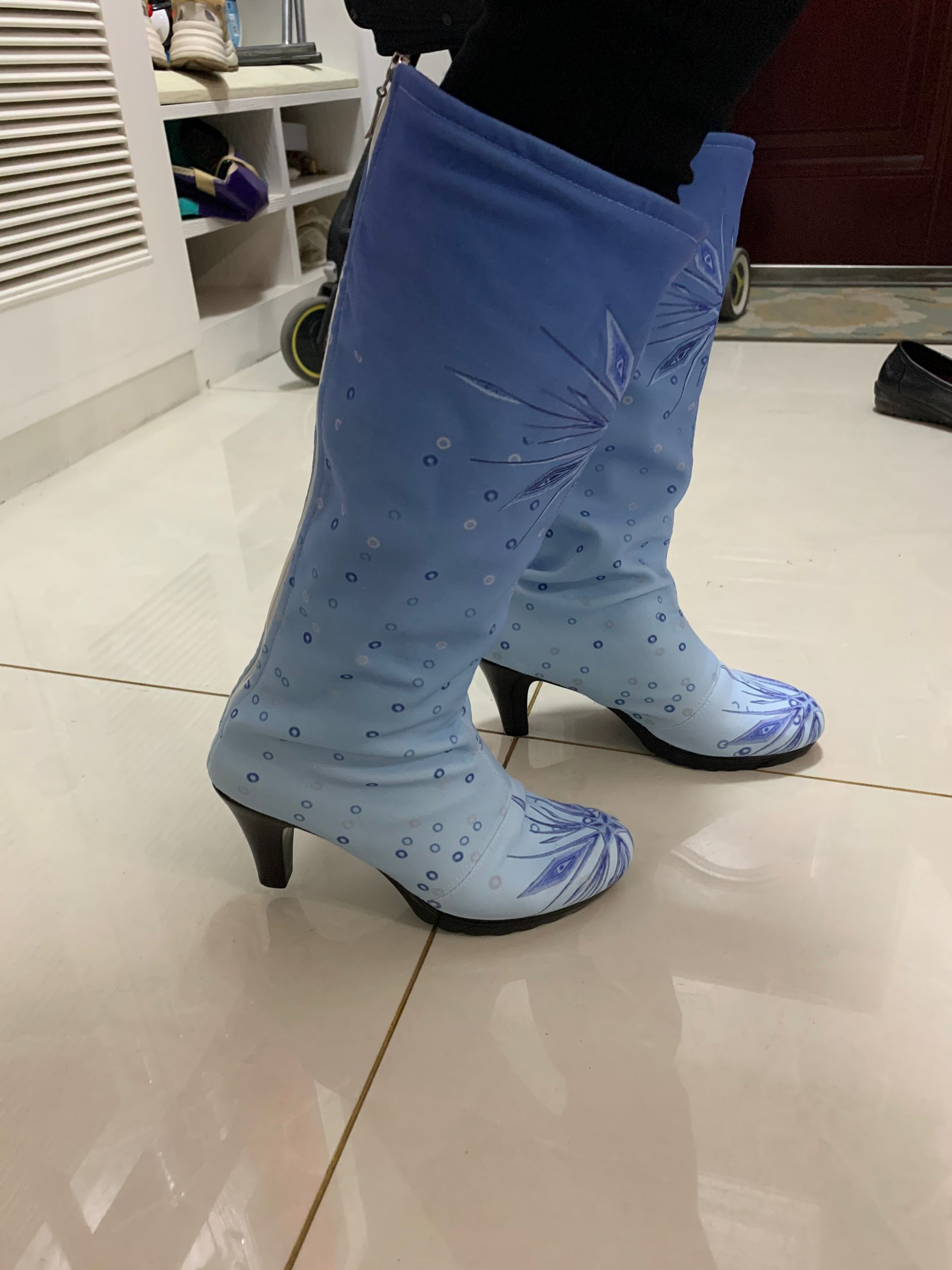 Girls Frozen 2 Princess Elsa diamond Shoes Cosplay Dress High heel Crystal