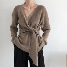 Korean Lace Up Women Sweaters Solid Sweater Sueter Mujer V-Neck Casual Knitted