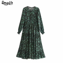 2019 england elegant green floral printing o-neck pleated dress women vestidos straight button ankle-length
