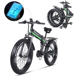 Electric Bike 1000W Mens Mountain Bike Snow Bike Folding Ebike MX01 Adult Electric Bicycle Fat Tire e Bike 48V Lithium Battery