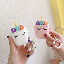 DIY Cartoon Unicorn 3D Cute Wireless Bluetooth Headset Soft Silicone Case For Airpods 1/2 Flower Earpods Cover Key Ring