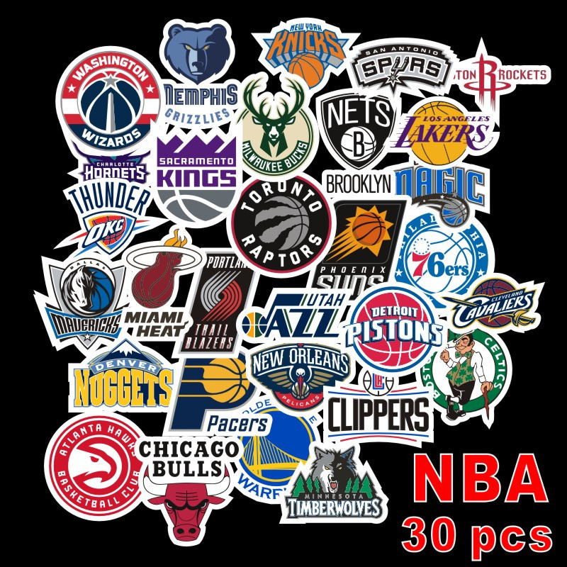 Hot 30pcs/Pack Waterproof Cartoon Fashion NBA Logo Stickers Skateboard Suitcase Guitar Luggage Laptop Phone Stickers Classic Toy