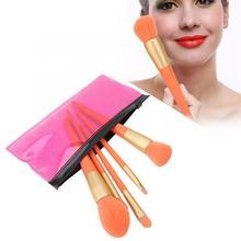 Кисть для макияжа, 5 шт., профессиональная кисть для теней, портативная румяна, пудра, косметическая кисть, инструмент для макияжа, оранжевый, легко носить