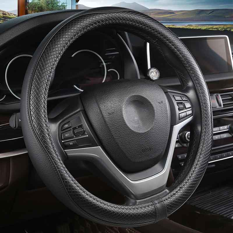Leather Steering wheel cover auto accessories for peugeot 408 508 607 309 isuzu d-max faw R7 v5 CX65 A50 D60 N5 A70 N7 S80 2009(China)