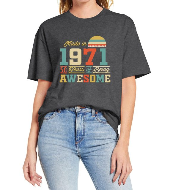 1971 tshirts 50 Years of Being Awesome 50th Birthday Gifts for Women And Mens Funny Unisex Gift T Shirt  Cotton Tee XS-3XL 3