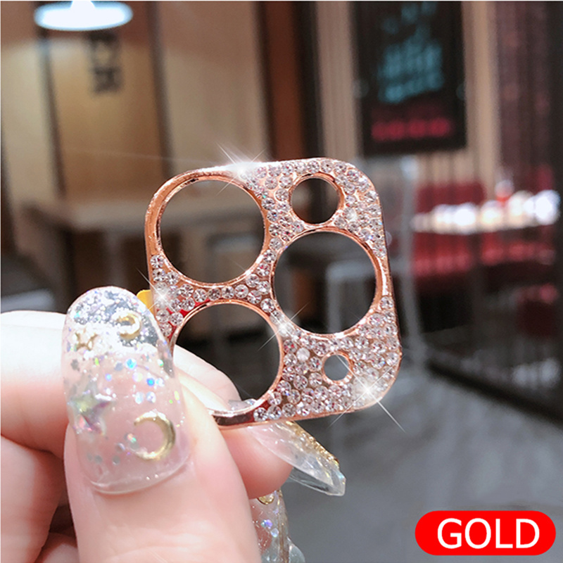 Bling Diamond Glitter Rhinestone Camera Protective Lens For iPhone 11 Pro Max Ring 15