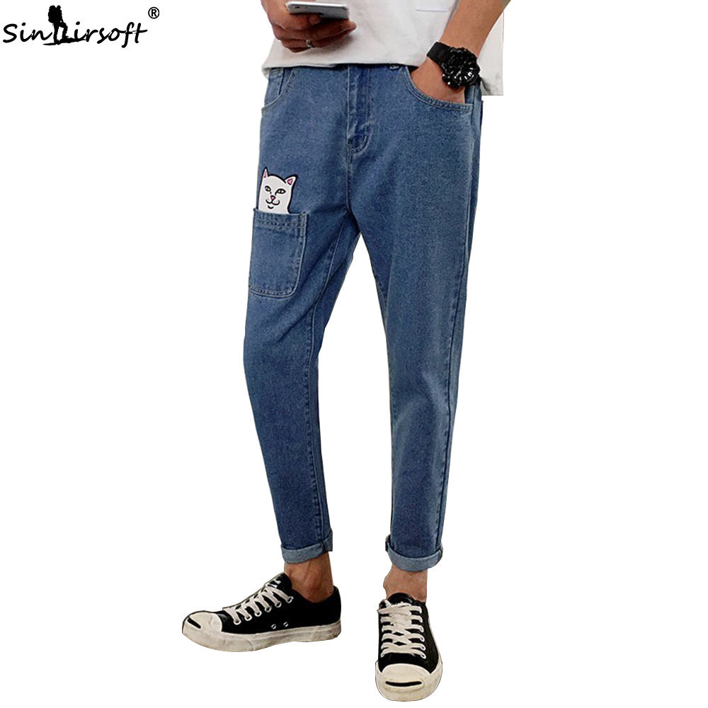 2019 Cartoon Printed Pencil Pants Men Casual Streetwear Full Length Denim Jeans Male Pattern Cat Big Pocket Trousers Summer New