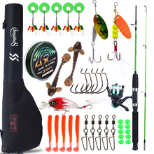 Sougayilang 1.2m Fishing Rod Full Kits with Telescopic Fishing Rod Reel Baits Hooks Saltwater Freshwater Travel Pole Set
