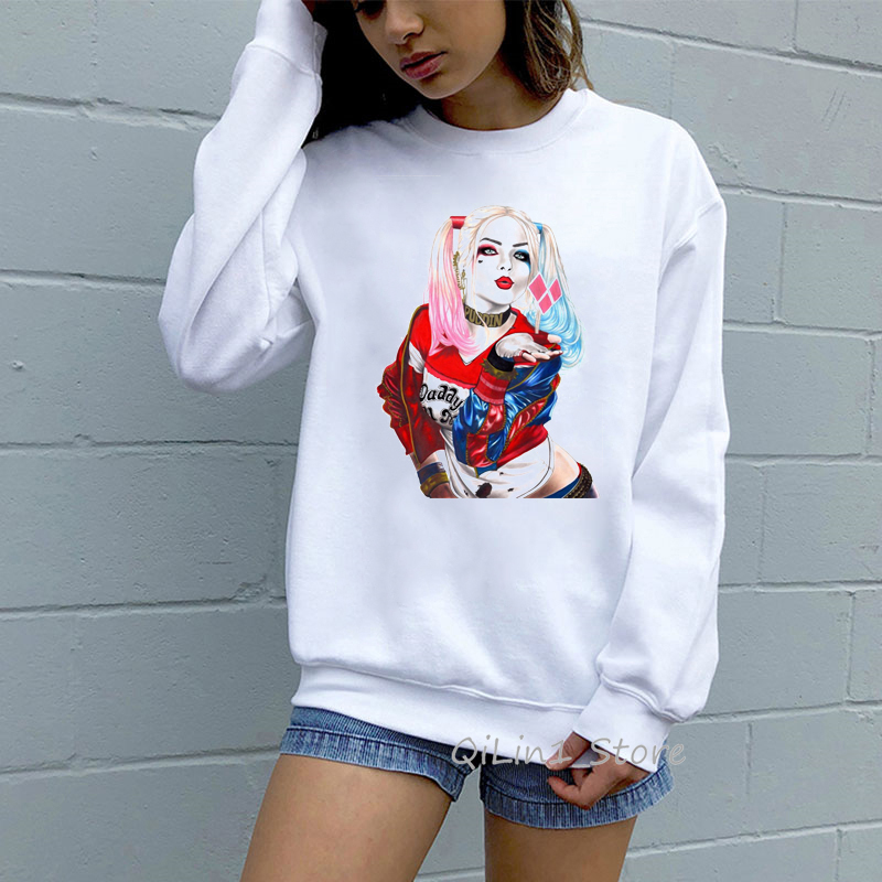 Suicide Squad Harley Quinn Print Hoodies Women Hipster Streetwear Sexy Hoddies O-neck Long Sleeve Hoodie White Winter Clothes