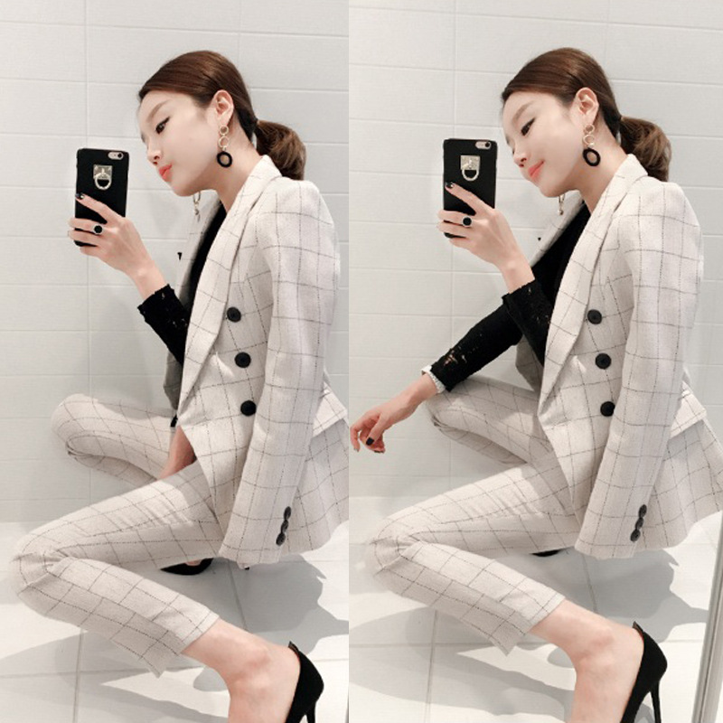 Spring And Autumn WOMEN'S Dress Elegant Fashion Fold-down Collar Double Breasted Slim Fit Plaid Suit Set