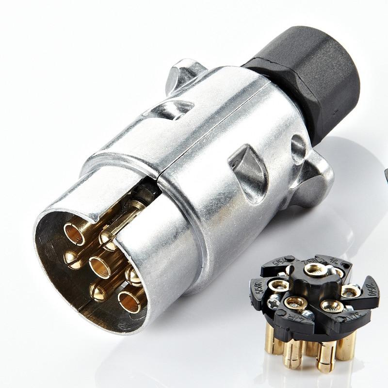 7 Pin Accessories Towbar Protector 12V Car Durable Trailer Socket Aluminum Alloy Connector Plugs European Standard Vehicle Plug