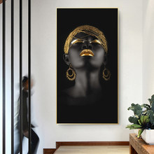 African Girl Black Woman with Golden Headdress Canvas Paintings Posters and Prints Wall Art Pictures for Living Room Decor