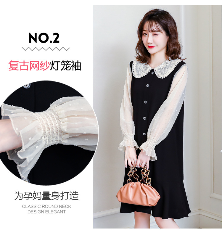 Cotton Spring Dress for Pregnant Women Maternity Summer Clothes for Pregnancy Black Pregnant Dress (7)