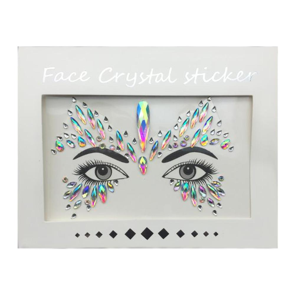 3D Acrylic Face Jewels Tatoo Blink Fake Tattoo Sticker Glitter Waterproof Flower Flash Crystal Glitter Face Stickers