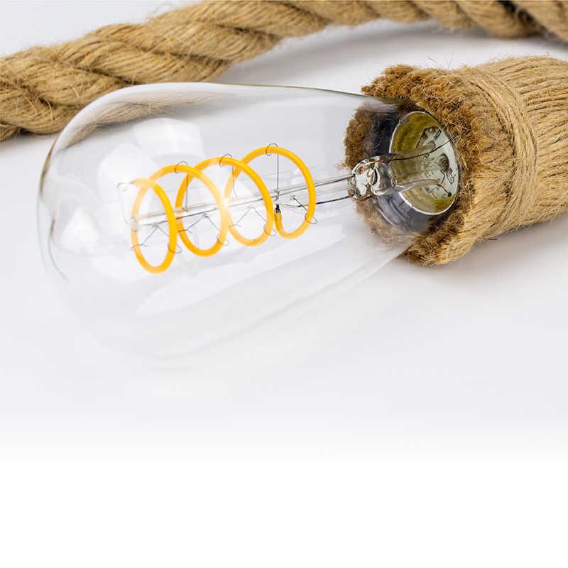 Светодиодный винтажный пеньковый веревочный подвесной светильник база AC85-265V E27 розетка креативный Кантри стиль лофт промышленный подвесной светильник украшения