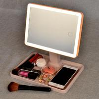 Multifunctional LED Makeup Mirror Portable Compact Desklamp Mirror Touch Screen Vanity Lamp Cosmetic Mirror Make Up Tools