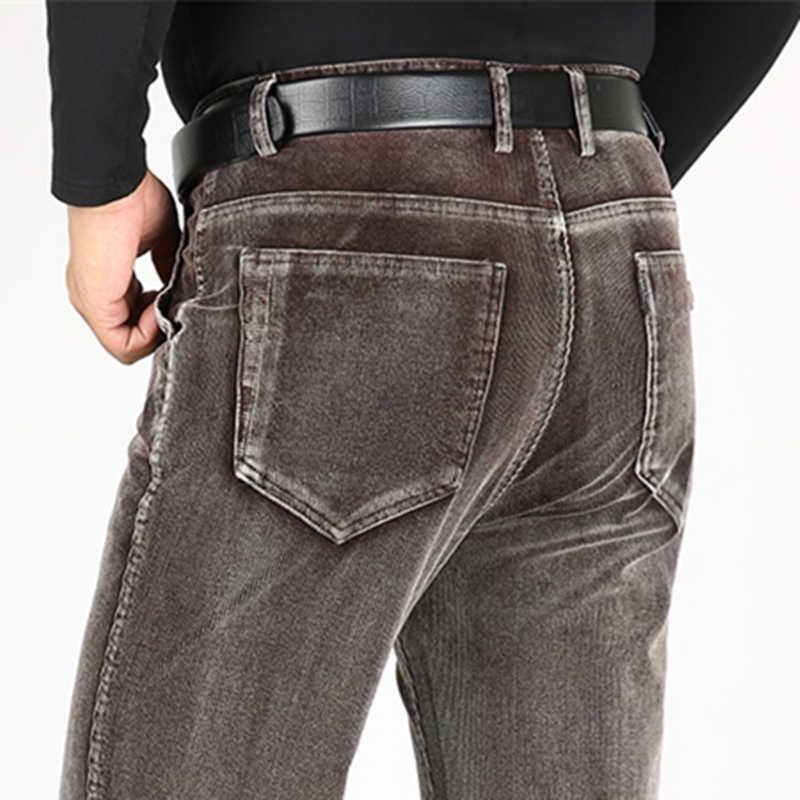Icsars Pantalones De Pana Gruesos Y Calidos Para Hombre Calzas Informales De Cintura Alta Elasticos Sueltos Para Invierno 2019 Pantalones Informales Aliexpress
