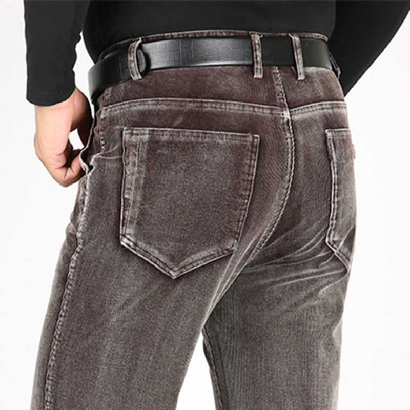ICPANS Corduroy Trousers Men Thick Warm High Waist Winter Pants Men Trousers Loose Straight Stretch 2019 Casual Pants Man