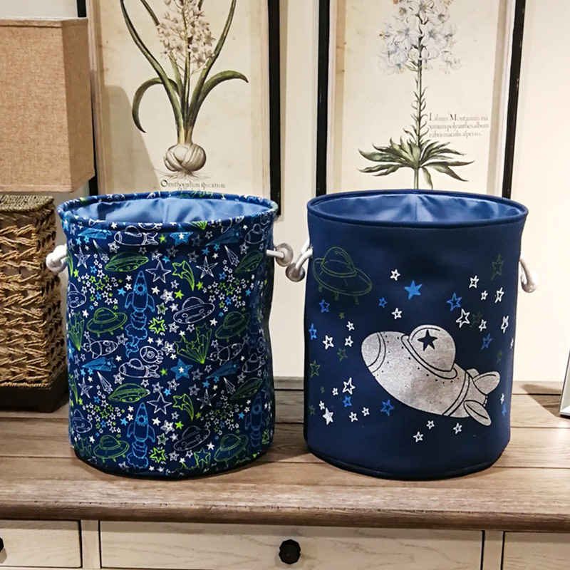 1 Pcs Laundry Baskets Spaceship Stars And Moon Series Pattern Toys Barrels Canvas Dirty Clothes Barrels Home Decorations