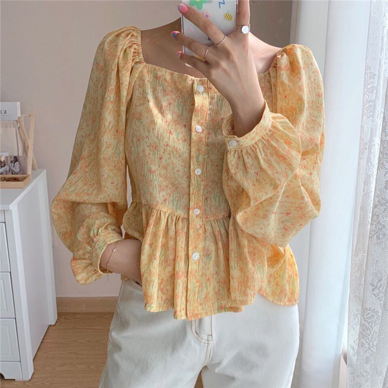 Alien Kitty Summer Slim Square Collar Newest Print Ruffles Office Lady Streetwear Women Shirts Tops Vintage Florals Loose Blouse
