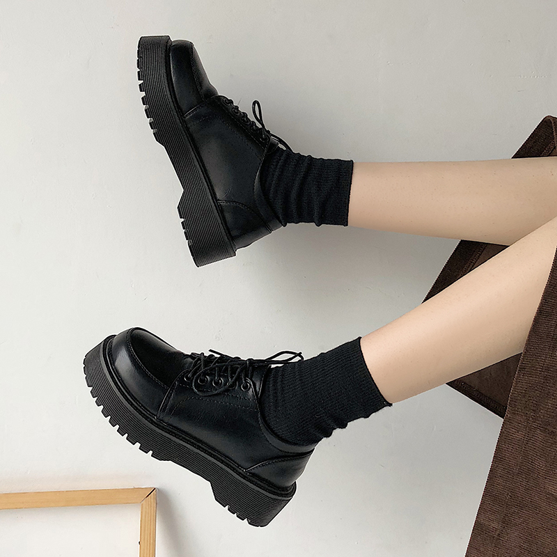 Spring Autumn Women Oxford Shoes Flat on Platform Casual Shoes Black Lace Up Leather Shoes Sewing Round Toe zapatos mujer 8901N