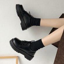 Primavera outono mulher oxford sapatos planos na plataforma sapatos casuais preto rendas até sapatos de couro costura dedo do pé redondo zapatos mujer 8901n