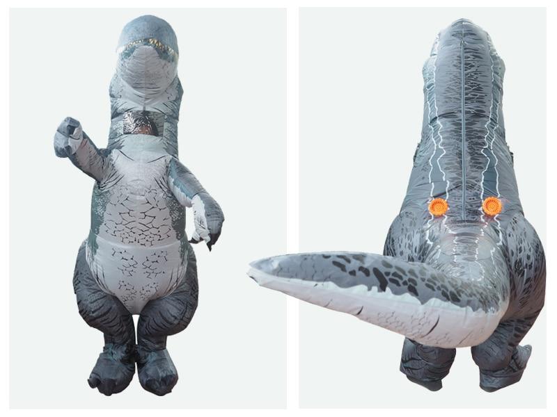 Jurassic World 2 Park Hot Adult Inflatable Velociraptor Costume Cosplay Dinosaur T REX Costume Halloween Costumes For Women Men (3)