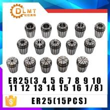 ER25 15PCs Clamp ชุด 3 มม.ถึง 16 มม.สำหรับเครื่องกัด CNC เครื่องแกะสลักเครื่องมือมอเตอร์แกน