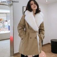 75CM Natural Fox Fur Liner Parka Real Fur Winter Jacket Women Large Real Fox Fur Collar Trench Coat Female Warm Paraks