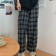 Pantalon à carreaux noirs pour femmes, Streetwear rétro Harajuku pour étudiantes, pleine longueur, jambes larges, Chic, 3XL, nouvelle mode