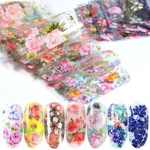 10pcs Nail Foil Polish Stickers Mix Rose Flower Transfer Foil Nails Decal Sliders For Nail Art Decoration Manicure Designs JI787