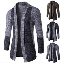 Стильный мужской кардиган с открытой передней частью, повседневный облегающий свитер, пальто, зимняя теплая вязаная одежда, осенняя и зимняя импортная торговля