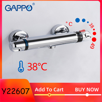 GAPPO  Thermostatic Bath Shower Control Valve Bottom Faucet Wall Mounted Hot And Cold Brass Bathroom Mixer Bathtub Tap thermostatic shower faucet 5 functions brass concealed valve wall mounted shower controller for bathroom showerheads