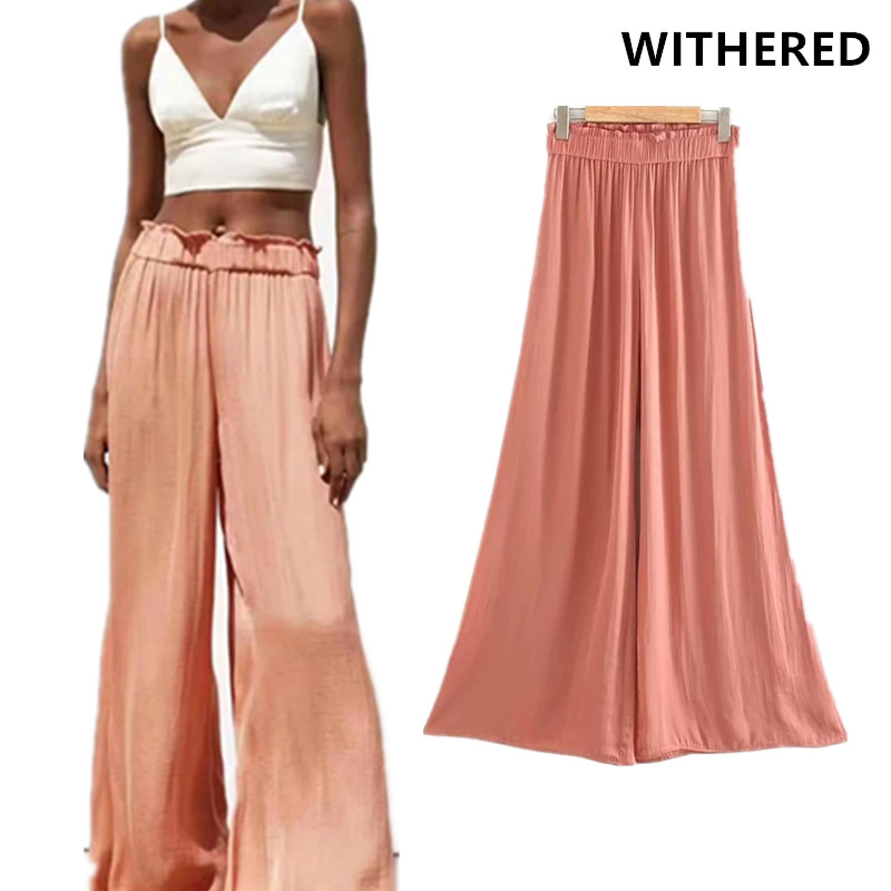 Withered   wide     leg     pants   women england vintage elastic high waist solid pantalones mujer pantalon femme trousers women plus size