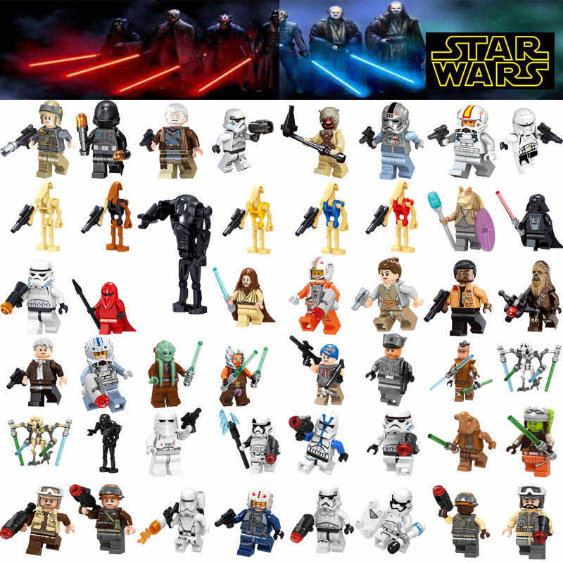 Star Wars Figures legoing starwars Leia Han Solo Yoda Luke Sith Lord Darth Vader Maul Revan Dooku Building Blocks bricks toys