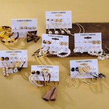 FNIO, модные жемчужные акриловые серьги для женщин, богемные серьги, набор, леопардовые кисточки, висячие серьги, Brincos, геометрические ювелирные изделия