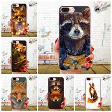Fashion Raccoon Red For Apple iPhone 4 4S 5 5C 5S SE 6 6S 7 8 11 Plus Pro X XS Max XR Art Print Transparent TPU Cover(China)